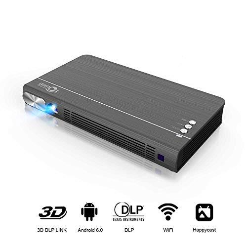 TOUMEI T6 Mini Beamer, Portable Full HD WiFi Mini Videoprojektor DLP 2400 Lumen Android 6.0, unterstützt 1080P 4K 3D Taschenbeamer für Unterhalterung zu Hause und im Freien 2019 Grau