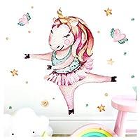 Wandaro Little Deco DL184 Wall Sticker Unicorn Ballerina Hearts & Stars I A4 21 x 29.7 cm I Wall Sticker for Nursery Girls Baby Room