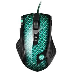 Sharkoon DRAKONIA - Ratón Gaming Láser, 5000 DPI, 11 Botones, Verde
