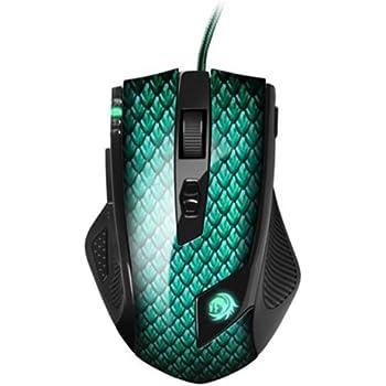 Sharkoon Drakonia - Ratón laser para juegos con 11 botones, verde
