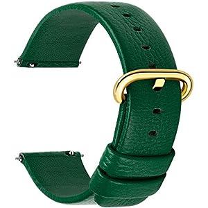 Fullmosa 12 Farben für Uhrenarmband, Kalbsleder Armband für Damen Heren Lederarmband mit Edelstahl Metall Schließe, 18mm, Dunkelgrün mit Golden Schnalle