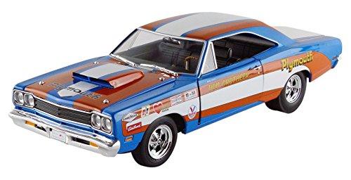 auto-world-aw220-plymouth-roadrunner-hardtop-1969-echelle-1-18-bleu-orange