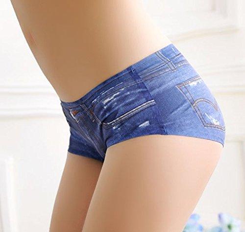 3 Sexy Panty-Set Neu 'Jeanslook' - Damen Slip in Jeansoptik   Größe 34-36 Blau