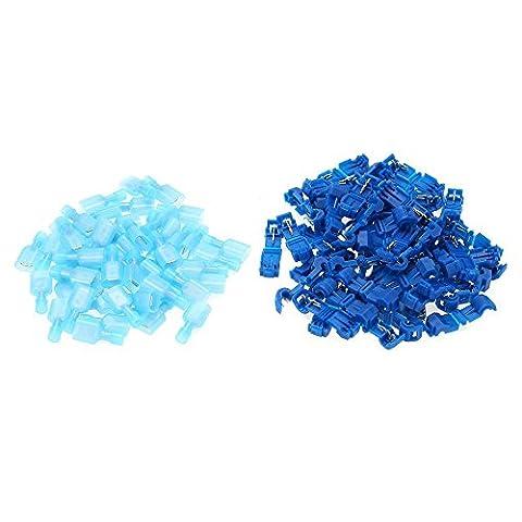 WINGONEER 100Pcs (50 Paar) Blue T-Tap Isolierte Elektrische Kabelverbinder Quick Splice Lock Wire Terminals Spaten Crimp Combo Set 1.0-2.5mm2 AWG 16-14