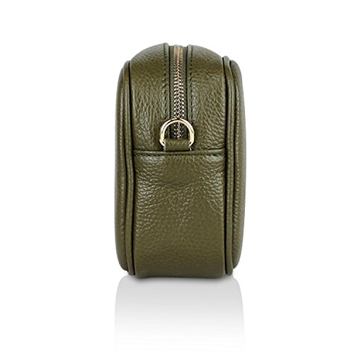 Glamexx24 Borsa vera Palle da Donna a mano , Casual Borsetta a tracolla, elegante Clutch Made in Italy 1.008 1.008.3 Verde Oliva