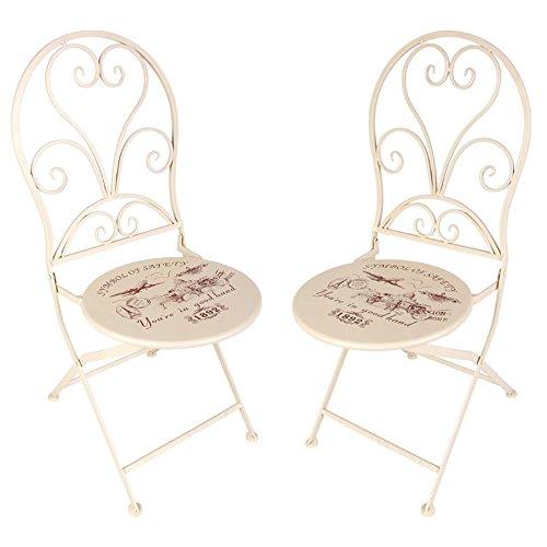 Buri Vintage-Stühle London 2er-Set Gartenstühle Klappstühle Balkonstuhl Metallstuhl