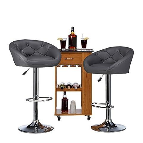 Relaxdays Tabouret de bar GLENN haut réglable dossier accoudoir similicuir lot de 2 moderne HxlxP: 103 x 54 x 46 cm, gris
