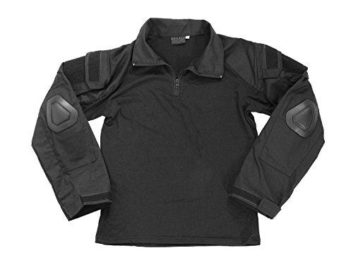 BEGADI Basics Combat Shirt, mit elastischem Torso, 2 Armtaschen & Protektoren - schwarz