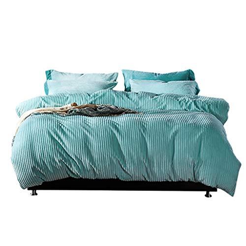 Amazmax Bettbezug Set, Flanell Verdicken Winter-Set, Soft Light-Weighted Tröster Qualität Premium Bettwäsche-Sammlung 4 Stück-Sets Blue Queen 200x230cm -