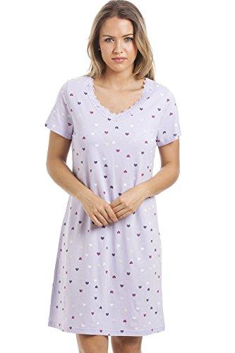 Damen Nachthemd für den Sommer weiche Baumwolle verschiedene Farben und Prints 42/44 Lilac Heart