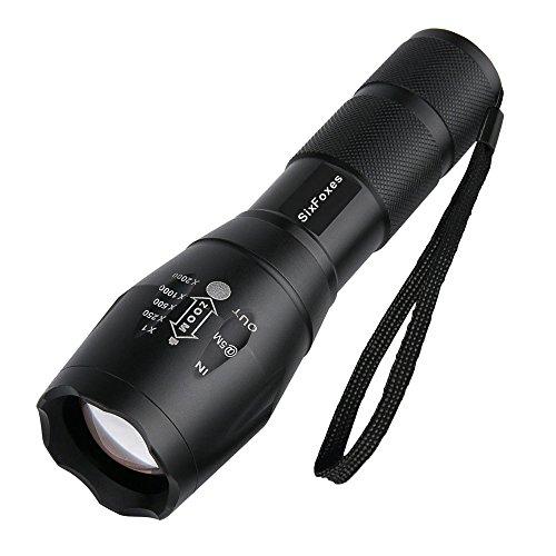 Preisvergleich Produktbild LED Taschenlampe, Six Foxes Superhelle CREE XM-L T6 LED Mini Taschenlampe Taktische Taschenlampe 2000 Lumen Tragbare Wasserdichte Taschenlampe fürs Freie mit Einstellbarem Fokus und 5 Lichtmodi