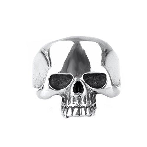 COPAUL Anillo de Dientes Hombres del Acero Inoxidable del cráneo del Punk,Plata