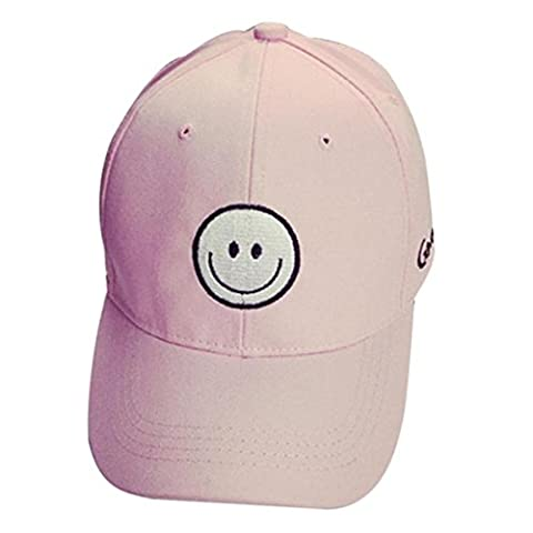 ❀AMUSTER❀Broderie en coton bonnet de baseball Chapeau plat de hip hop pour garçons (Rose)