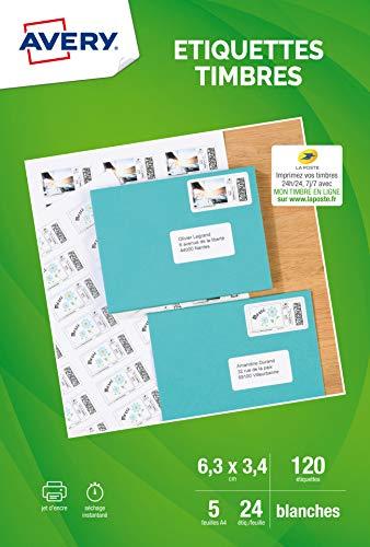 AVERY - Pochette de 120 étiquettes autocollantes pour imprimer ses timbres, Personnalisables et imprimables, Format 63,5 33,9 mm, Impression jet d'encre,