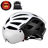 KING BIKE Fahrradhelm mit Abnehmbaren Schutzbrille Schild Visier Damen Herren UV400 Schutz Kann kann über die Brille 56-63cm Weiß