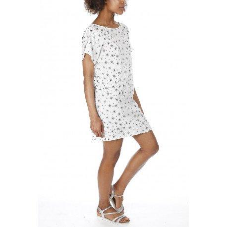 Ideal Shoes - Robe en crêpe imprimé étoiles Katerina Blanc