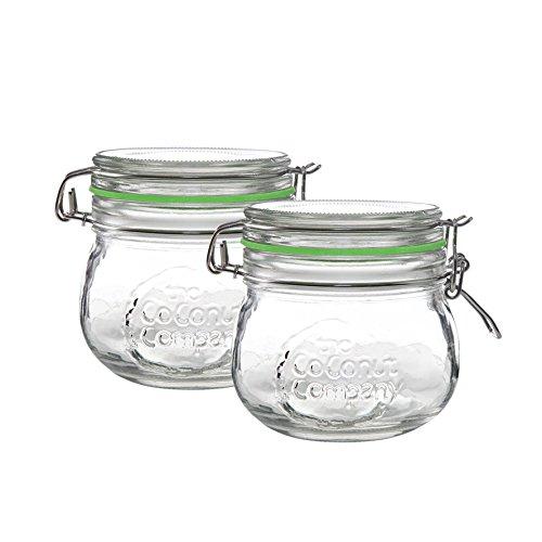 The Coconut Company Lot de 2 bocaux en verre avec clip et joint en silicone 500 ml