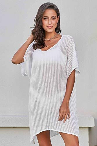 ATYMD Badeanzug der Frauen bedeckt Bikini Badeanzug häkeln Kleid,White
