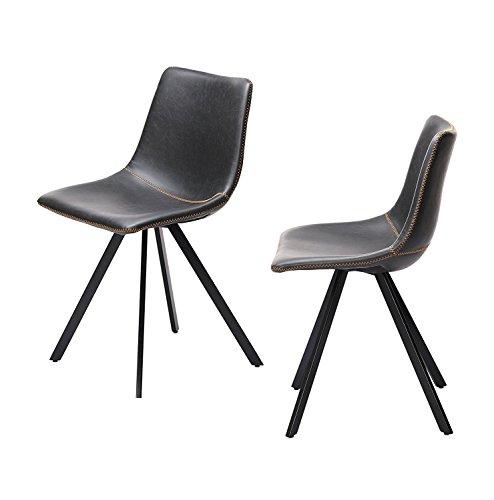Vintage simili cuir Chaises de salle à manger Noir (Lot de 2)