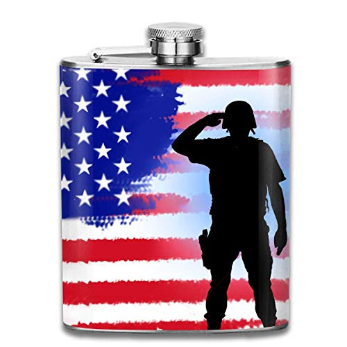 Stainless Steel Leak-Proof Hip Flask USA Patriot Soldier On American Flag Flagon Whiskey Container Flask Pocket for Unisex -