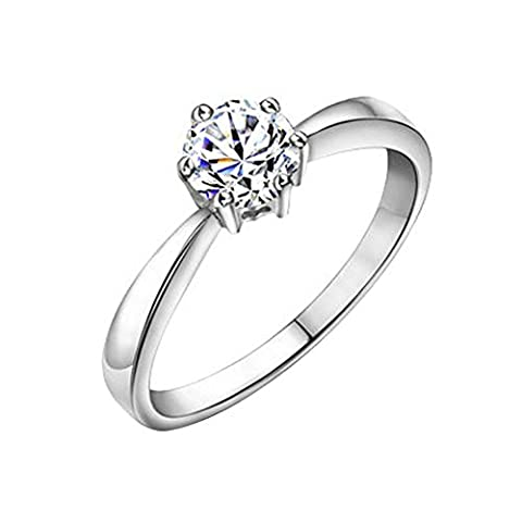 Yoursfs 18ct White Gold Plated Thin Six Prong Setting Austrian