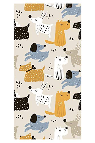 LimeWorks Badetuch, 70x140 cm, niedliches Hunde-Muster, Baumwolle/Mikrofaser, Made in EU