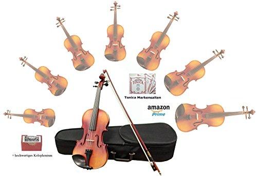 Sinfonie24 Geige/ Violine aus Hamburger Geigenbau Manufaktur (Plus II) - inkl. Markensaiten (4/4) - Versand durch Amazon