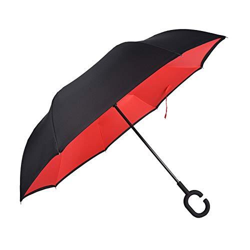 Homi ombrello reversibile antivento, con manico a forma di c, per uomo o donna con sistema antigocce, per pioggia e sole, con trasporto per auto