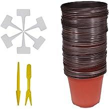 Huvai Juego DE 50 macetas de plástico DE 15 cm con 50 Etiquetas de plástico Impermeables