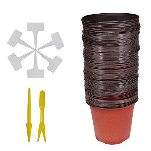 Huvai 50pz 15,2cm plastica vasi di piante piantine nursery con 50pz impermeabile plastica pianta t-tipo tag e 2pcs/set trapianto scavare mini tools
