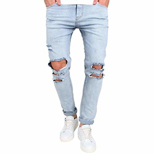 Ba Zha HEI Männer Stretchy zerrissen Skinny Biker Jeans zerstört gegürtete Slim Fit Denim Hosen Chino-Hose Stoffhose aus hochwertiger Baumwoll-Mischung Slim Jogginghose Trainingshose (Blau, 32) (Herren-skinny-jeans Zerstört)
