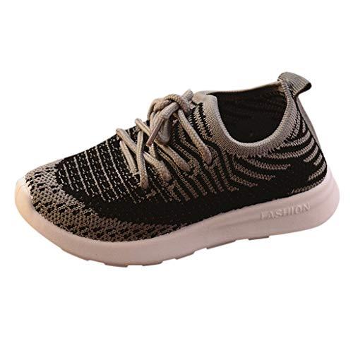 HDUFGJ Unisex Kinderschuhe Sneaker Atmungsaktiv Streifen Netzoberfläche Fliegendes Weben Kinderschuhe Outdoor Schuhe Bequem Weicher Boden Fitnessschuhe