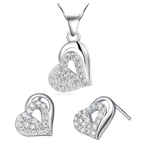 AieniD Conjunto de Collar y Pendientes Chapado en Plata Joyas de Moda Con Circonita
