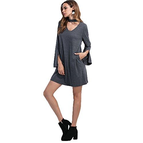 Fur Story 17B06 Femme Robe d¨¦contract¨¦e avec manches ¨¦vas¨¦es Gris