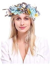 dressfan Cerchietti Multicolore Fiore Artificiale per Donna Copricapo per  Sposa Abiti damigella d onore con Braccialetto Cerchietto per… 2fc507d893bb