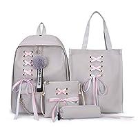 4 Pcs/Set Bowknot Ribbon Chain Backpacks Backpack Canvas Backpacks Leisure Travel Backpacks Backpacks For Teenage Girls School Bagpack
