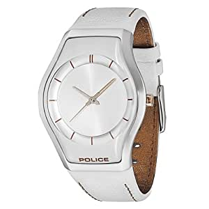 Police Sphere X Women's Quartz Watch with Silver Dial Analogue Display and White Leather Strap 12778MS/04A