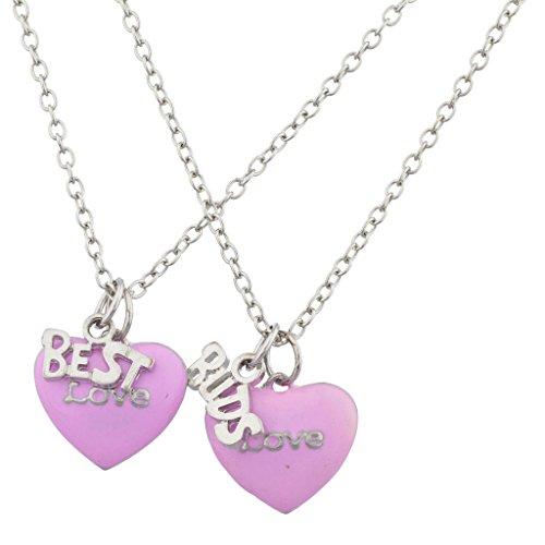 LUX Zubehör Silber Ton Pink Love Herz BFF Best Buds Halskette Set (2)