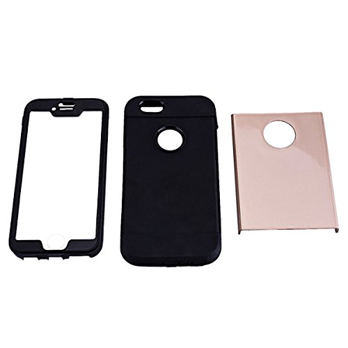 Coque iPhone 6S, Etui iPhone 6 4.7 Pouces, GrandEver Housse de Protection Triple Couche Heavy Duty Antichoc Étui Hard PC Noir Silicone Souple Protecteur Case Plastique de Silicone Hybrid Case for Appl Or