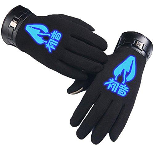 Bromeo Hatsune Miku Anime Hiver Chaud Lumineux Écran Tactile Gants Gloves Mittens Noir 1