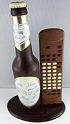 12#092320 Schokolade, Bierflasche, in ORIGINAL Größe, mit Fernbedienung, Bitburger Bier, Bierflasche aus Schokolade, Schokoladenbierflasche, echte Etiketten