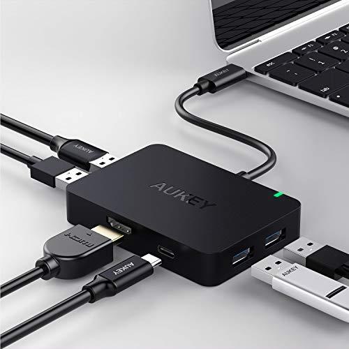 AUKEY USB C Hub HDMI Port ( 4K ) , 4 USB 3.0 Ports , USB C Ladeanschluss ( Power Delivery ) USB Type C Hub für MacBook Pro 2016 / 2017 , iMac 2017, Chrome Pixel , Samsung S8 und andere USB C Geräte - Schwarz
