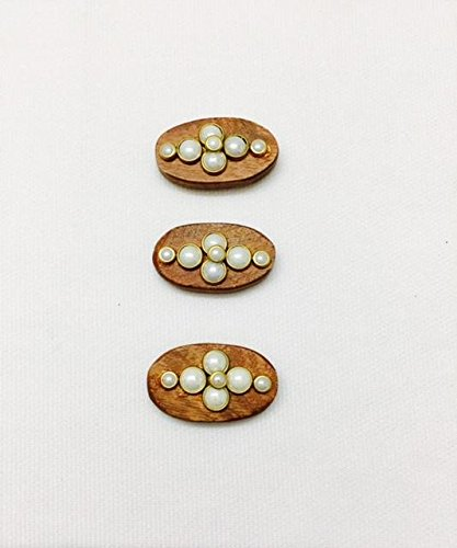 3 Pieces of wood buttons beautifully crafted with stone for kurtis ethnic...