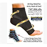 Ankle Compression Sleeve (1Pair) Brace Support, Relieve Plantar Fasciitis, Reduces Pain/Swelling, Supports Foot Blood Flow-for Men and Women (Black, M/L)