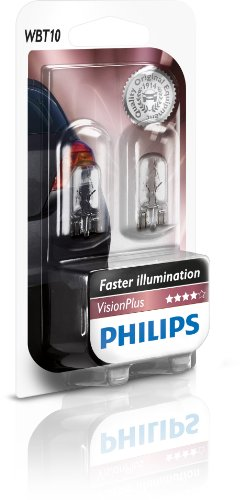 Philips 12040VPB2 - Wedge Base WBT10 Visionplus (Blister 2Pz), 12V, 6W W2, 1X9, 5D