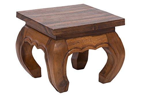 Table basse d'opium, 30x30x23 cm, artisanal, fait de massif bois, naturel