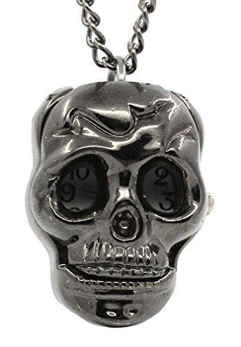 Souarts Gunmetal Color Skull Shape Pocket Watch