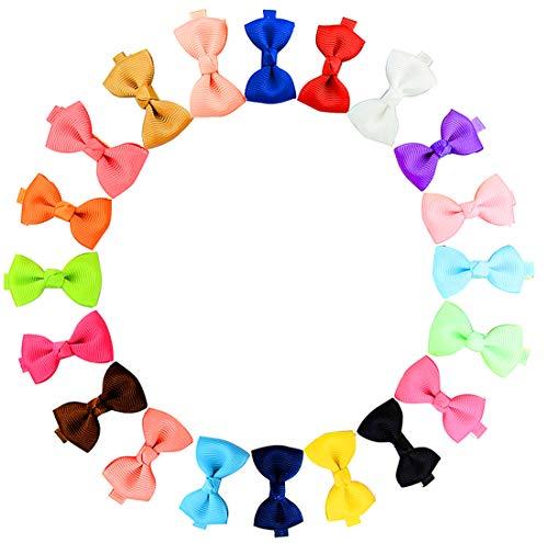 Boboder Winzige Haarschleife Grosgrain Ribbon Haarspangen Krokodilklemmen für Mädchen Kleinkinder 20pcs Ribbon Bow Stirnband