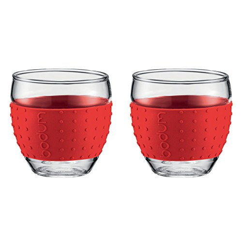 Bodum - Set 2 verres borosilicate bande en silicone rouge