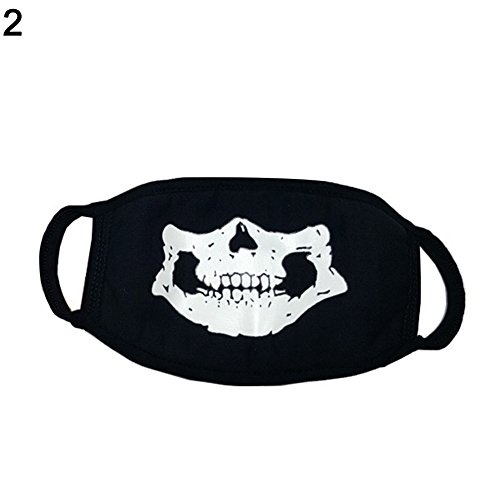 AchidistviQ Fashion Unisex Cosplay Party Outdoor Cool Luminous Anti Dust Cotton Mund Maske, Baumwolle, Skull